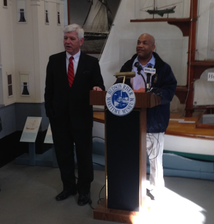 Speaker Heastie and Assemblymember Cahill briefed local press at the Hudson River Maritime Museum in downtown Kingston.