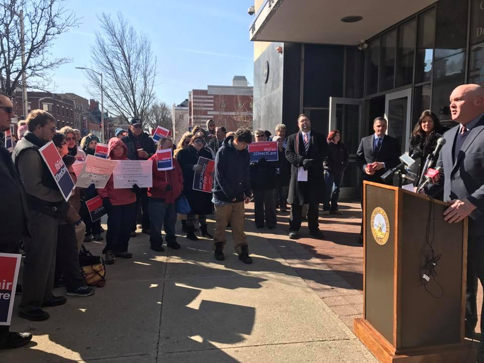 Assemblyman Kieran Michael Lalor joins Dutchess County Executive Marcus Molinaro and Senator Sue Serino at a press conference on Monday to speak about higher pay for direct care workers.
