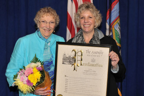 Assemblymember Didi Barrett with Margaret Fettes, of Washington, after she received the 2012 Outstanding Contribution by a Senior Citizen as part of New York State Senior Citizens� Day on Tuesday, May 8.