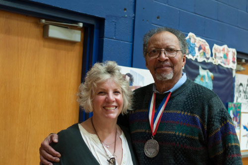 Assemblymember Didi Barrett and National Ambassador for Young People's Literature, Walter Dean Meyers at the Fifth Annual Hudson Children's Book Festival