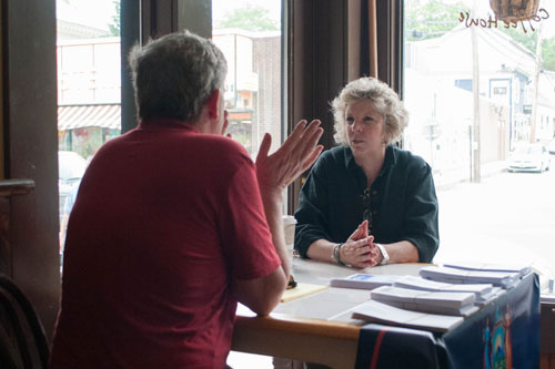 Assemblymember Didi Barrett meets with Town of Amenia Supervisor Bill Flood as part of her Mobile District Office tour at Irving Farm Coffee House on May 26th, 2012 in Millerton