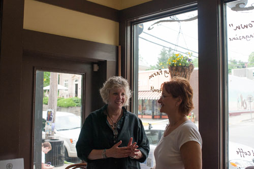 Assemblymember Didi Barrett meets small businesswoman Bonnie Hundt as part of her Mobile District Office tour at Irving Farm Coffee House on May 26th, 2012 in Millerton