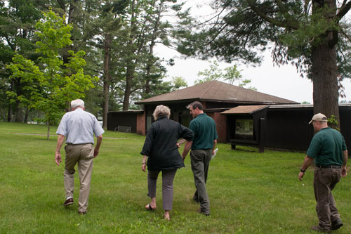 Assemblymember Didi Barrett tours Taconic State Park's Rudd Pond Area with local advocate, David Shufelt; Taconic State Park Manager, Ray Doherty; and caretaker, Chuck Hermans.