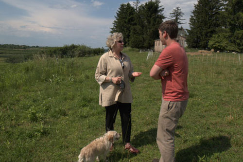 Didi touring Fishkill Farm with co-owner Josh Morgenthau