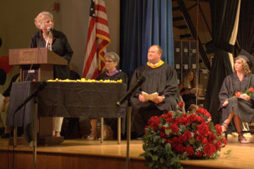 Assemblymember Didi Barrett speaks to graduates at the Chatham High School commencement along with Superintendent Cheryl Nuciforo and Principal John Thorsen.