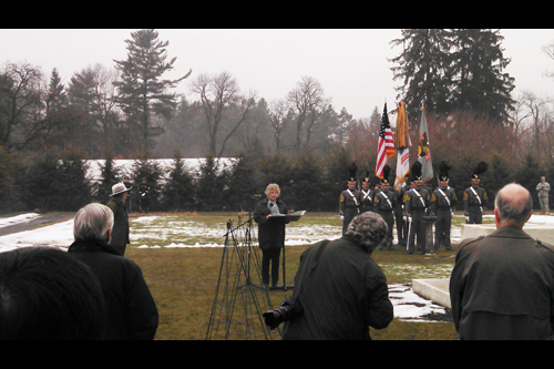 Assemblymember Didi Barrett giving remarks at the home and gravesite of FDR for the wreath-laying ceremony to commemorate his birthday.