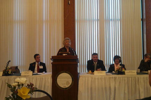 Barrett giving remarks at the annual Columbia County Chamber of Commerce Legislative Breakfast along with Assemblymen Steve McLaughlin and Pete Lopez, Congressman Chris Gibson, Senator Kathy Marchi
