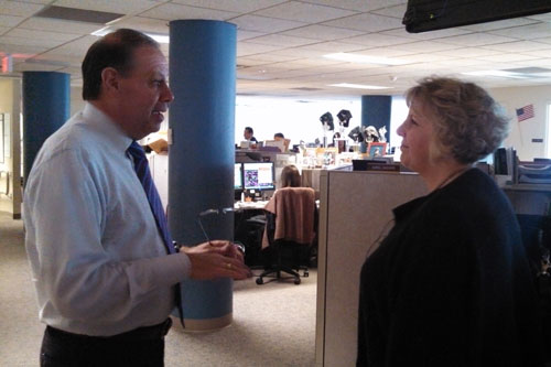 Barrett touring the Central Hudson Gas and Electric call center at their headquarters in Poughkeepsie with President James Laurito during one of her recent stops along the �Where the Jobs Are� Tour.