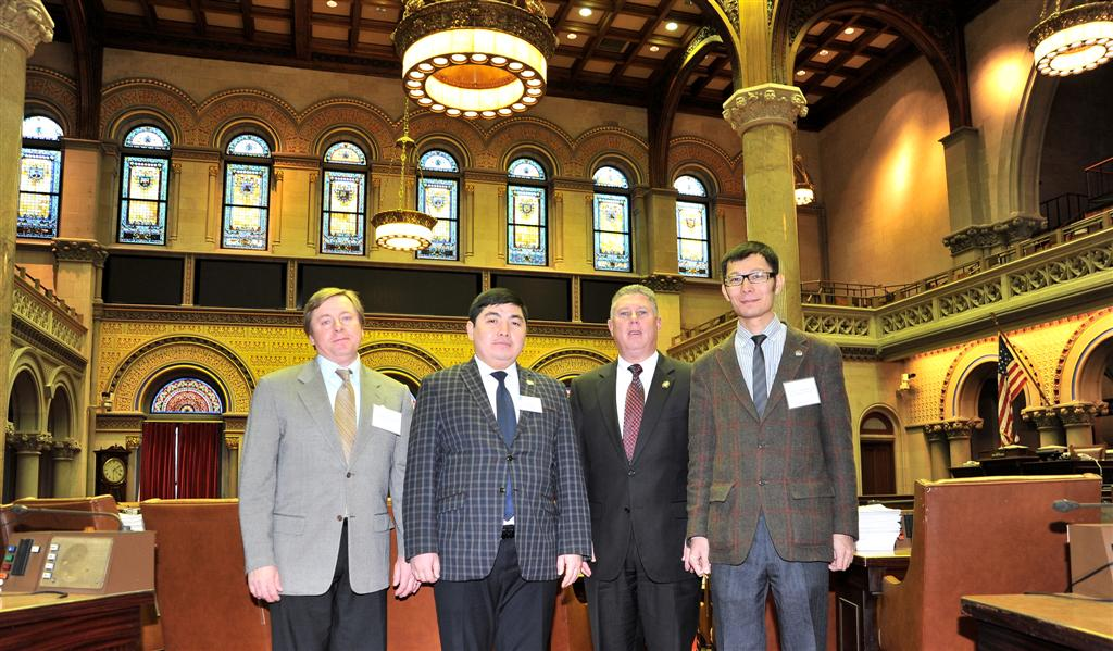 Assemblymember McDonald welcomes delegates from Kazakhstan to the Assembly Chambers.