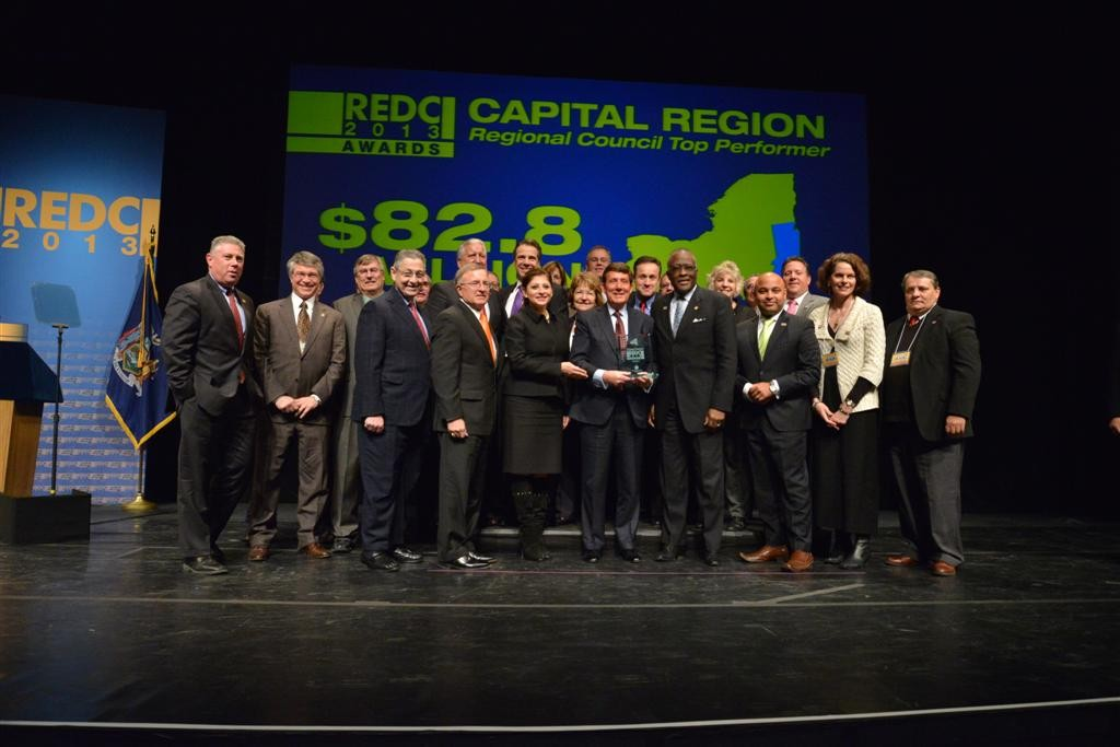 Assemblymember McDonald pictured with Speaker Sheldon Silver, Assembly colleagues and Regional Economic Development Councils Capital Region Regional Co-Chairs Dr. James J. Barba and Dr. Robert J. Jone