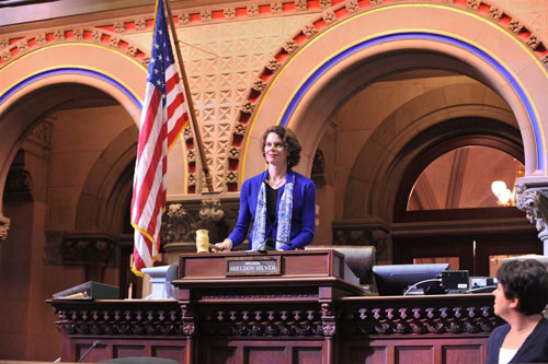 Assemblymember Patricia Fahy gavels into session for the first time, continuing a tradition set by her predecessor, Assemblymember John J. McEneny.