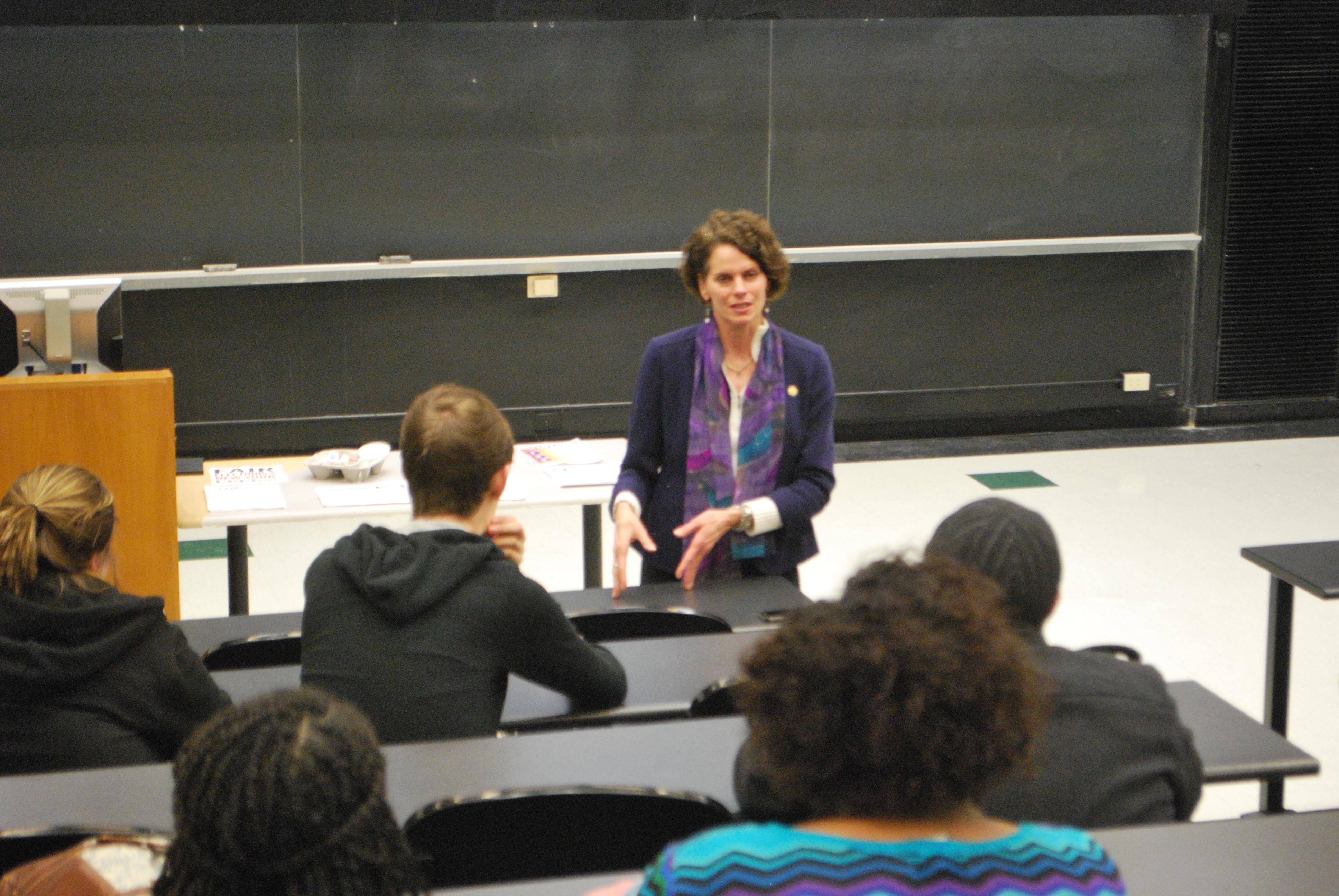 Assemblymember Patricia Fahy speaks at the University at Albany about fair elections legislation.