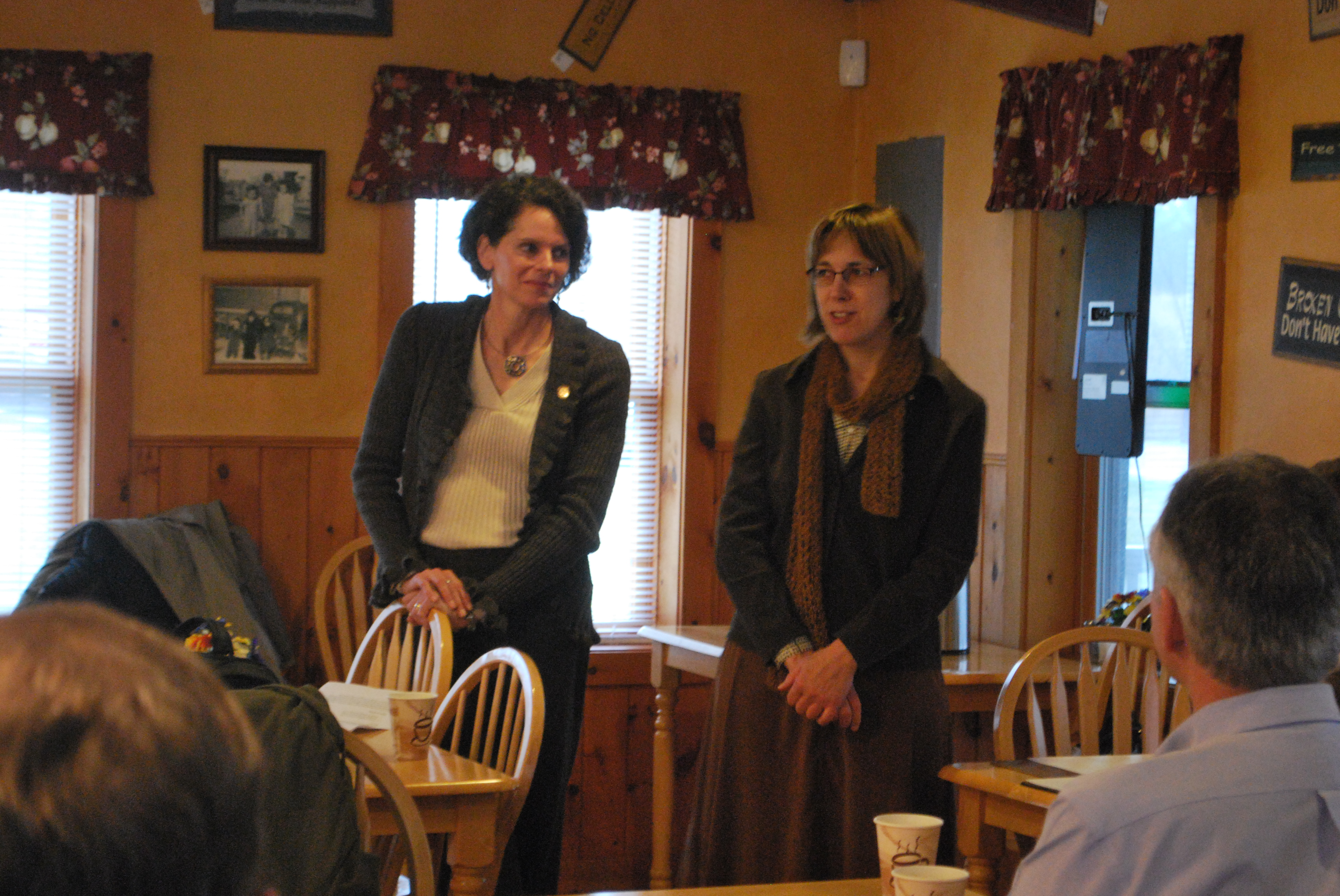Assemblymember Patricia Fahy and Senator Cecilia Tkaczyk co-hosted a �Community Coffee� forum in the town of New Scotland.