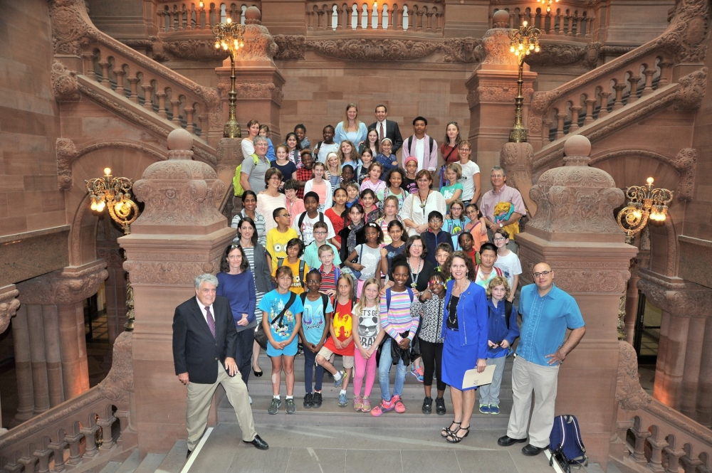 Assemblywoman Fahy welcomes students from Albany City's School District's Montessori Magnet School to the NYS Capitol!  They were treated to a tour by the Capitol's premier historian, Assemblyman Jack