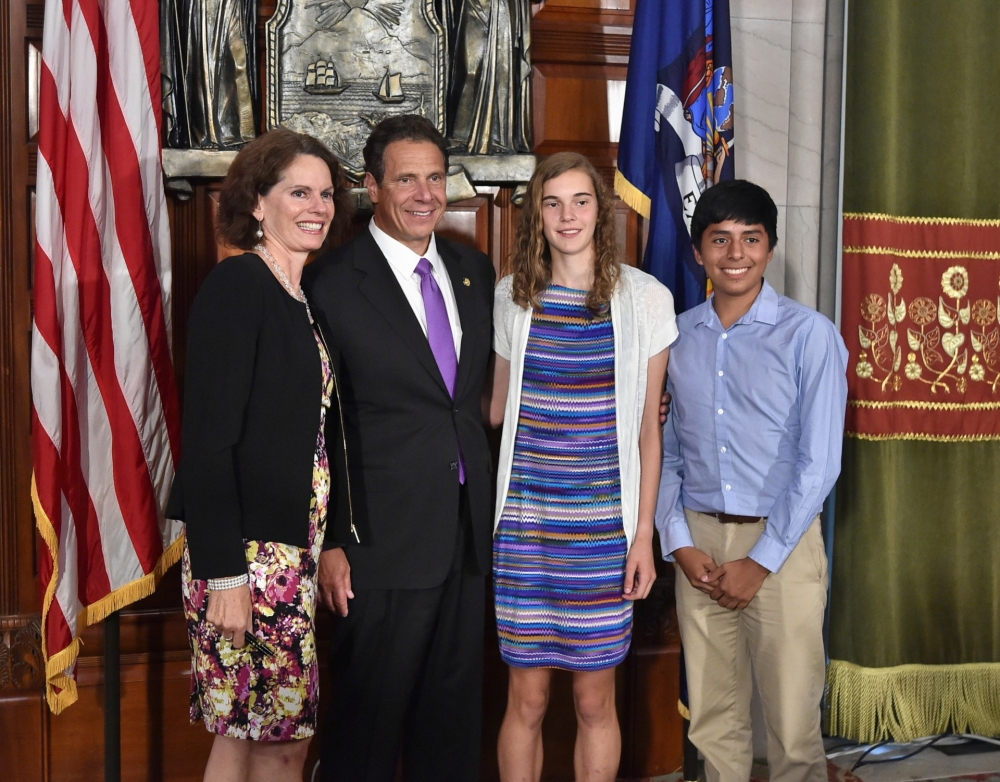 Assemblywoman Fahy and members of her family attended the bill signing ceremony for her legislation to lift burdens on craft breweries, distilleries & cideries with Governor Cuomo