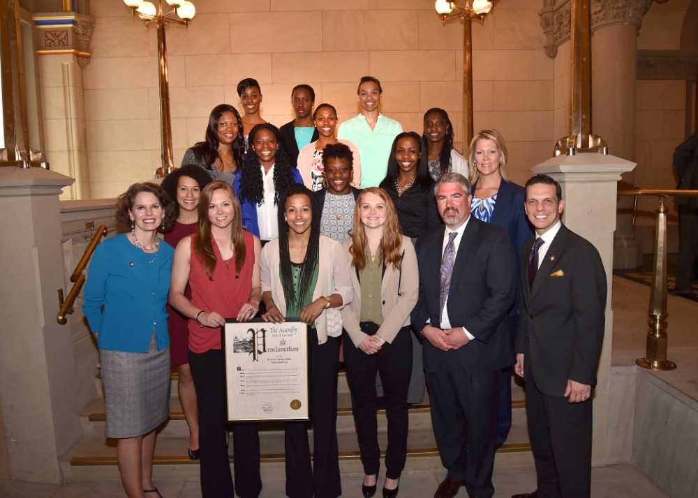 Assemblywoman Fahy and the University of Albany's Women's Basketball team.  May 2015.