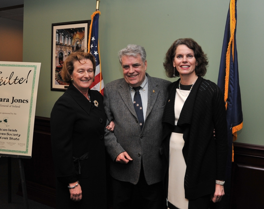 Assemblywoman Fahy and her predecessor, Assemblyman Jack McEneny welcome Barbara Jones, Consul General of Ireland to Albany.  March 2, 2015