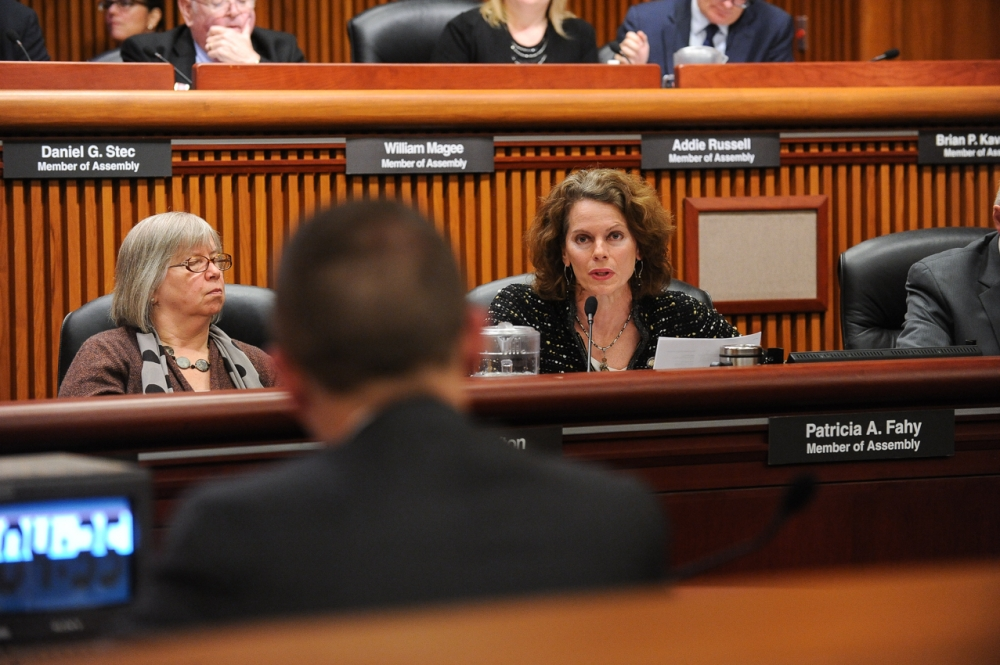 As a member of the Assembly's Committee on Environmental Conservation, Assemblymember Fahy asks clarifying questions of Acting DEC Commissioner Basil Seggos during the January 2016 Budget Hearing.