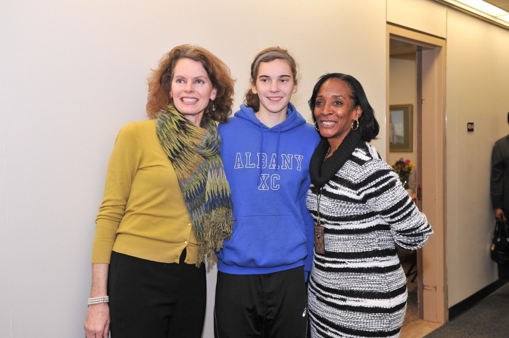 Assemblymember Fahy welcomed her daughter Eileen Bequette, a sophomore at Albany High School, and City School District of Albany Interim Superintendent Dr. Kim Wilkins at her January 2016 annual open