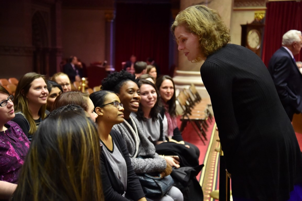 Graduate Fellows from the Center for Women in Government and Civil Society, a program of the University at Albany�s Rockefeller College of Public Affairs & Policy, visited the Assembly Chamber with As