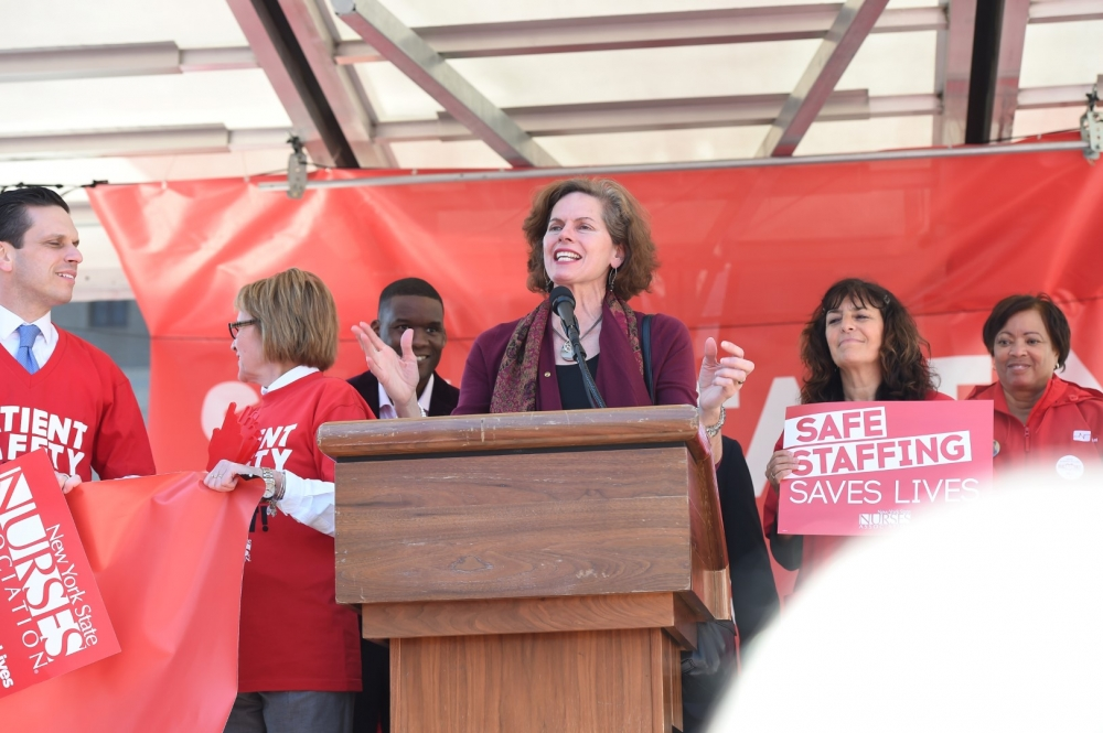 Assemblymember Fahy joins advocates nurses and supporters of the Safe Staffing for Quality Care Act rally in West Capitol Park in April 2016. The proposed law is aimed at setting mandatory nurse-to-pa