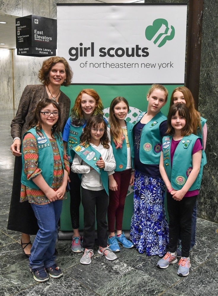 Assemblywoman Fahy meets with Girl Scouts from the Capital Region during their spring 2016 visit to the capitol.