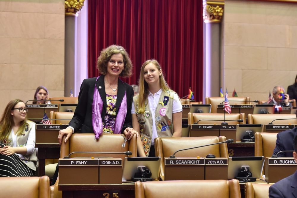 Assemblymember Fahy welcome�s Alexis Gotham a Girl Scout from the region to the Assembly Chamber in May, 2016.