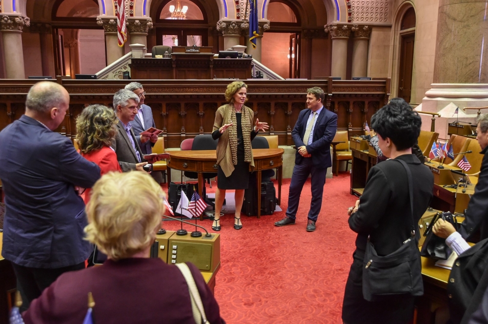Assemblywoman Fahy discusses STEM education policy with teachers, school administrators and college professors from Romania who were hosted in June, 2016 by the International Center of the Capital Reg