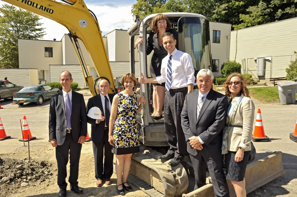 Assemblyman Angelo Santabarbara joins local and state officials at a groundbreaking for affordable housing in Amsterdam.
