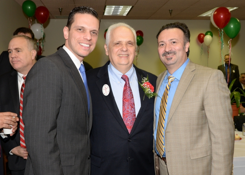 Assemblyman Angelo Santabarbara and his special guest, Tony Civitella, of Transfinder, join Assemblyman Joe Lentol for �Good Joe�s Day� in the Capitol. March 18, 2015