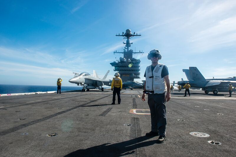 Assemblyman Angelo Santabarbara is pictured aboard the USS John C Stennis off the coast of San Diego. He embarked on the aircraft carrier for a one-night stay as part of the U.S. Navy�s Leaders to Sea program. 10/24/2015