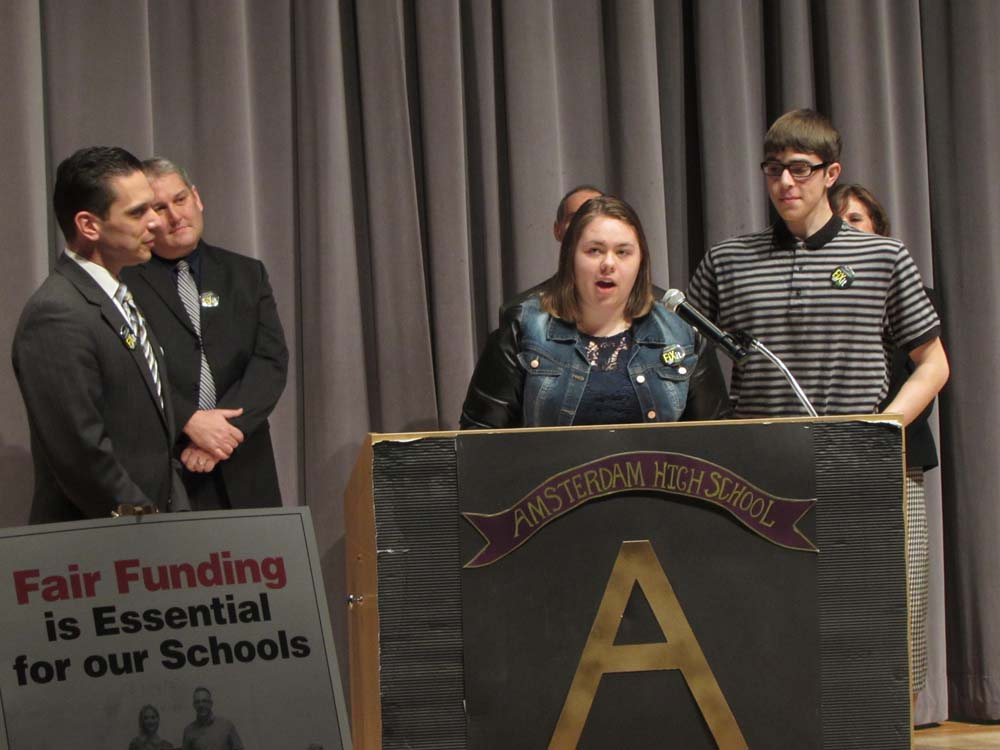Fort Plain High School seniors Brianna Swartz (center) and Travis Herringshaw (right) join Assemblyman Santabarbara (left) in calling for fair funding for New York�s public schools.