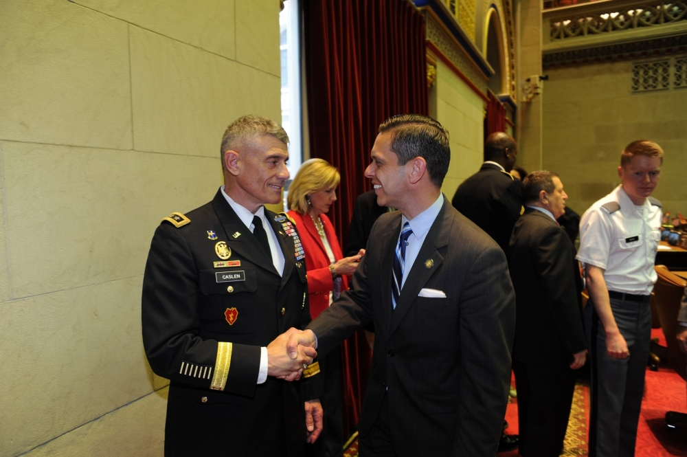 Assemblyman Angelo Santabarbara, a veteran of the US. Army Reserve, talks with West Point Superintendent Lt. Gen. Robert Caslen following the Assembly�s West Point Day ceremony on Thursday, May 5, 2016.