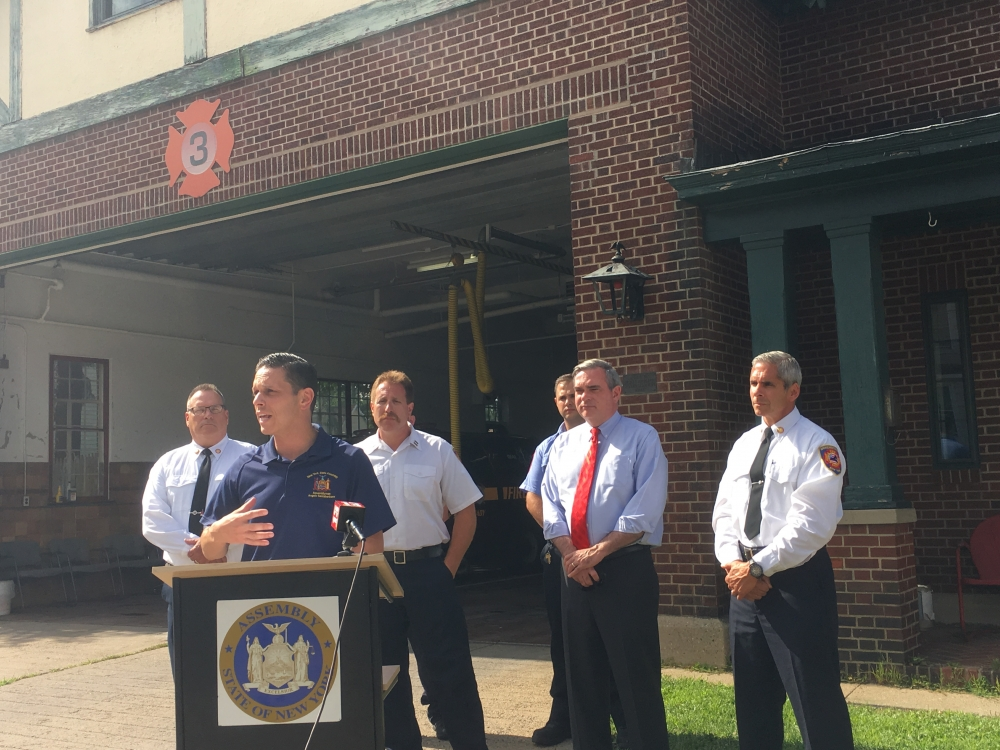 Assemblyman Angelo Santabarbara � alongside Schenectady Fire Chief Ray Senecal, Mayor Gary McCarthy, and city firefighters � announces $129,000 in capital funding his office secured to allow the Schenectady Fire Department to make substantial renovations to Station 3, located at 1200 3rd Avenue.<br /><br />