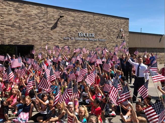Assemblyman Santabarbara and students at Tecler School in Amsterdam, NY celebrate FLAG DAY on June 14th, 2017.<br />