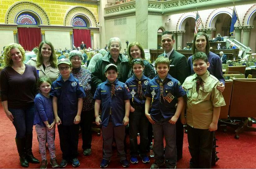 Assemblyman Santabarbara was pleased to welcome Cub Scout Pack 10 from his hometown of Rotterdam as guests in the Assembly Chamber March 7th, 2017.<br />