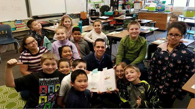 Assemblyman Santabarbara celebrated #ReadAcrossAmerica at Barkley Elementary School in the City of Amsterdam by being a guest reader for the 4th grade class!<br />