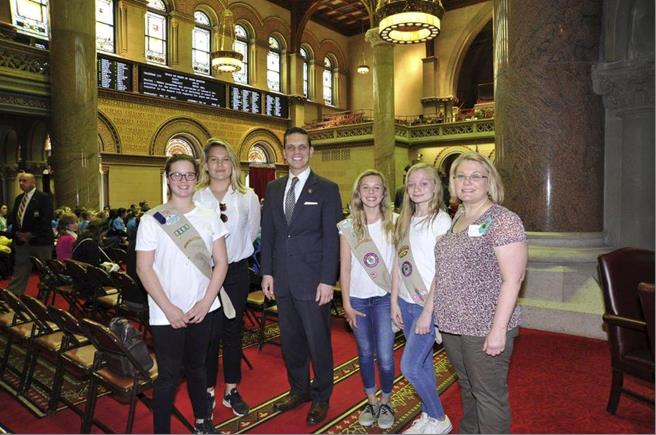 Assemblyman Santabarbara welcomed Girl Scout Troop 2381 from the Village of Canajoharie in Montgomery County to the Assembly Chamber, May 17th, 2017.<br />