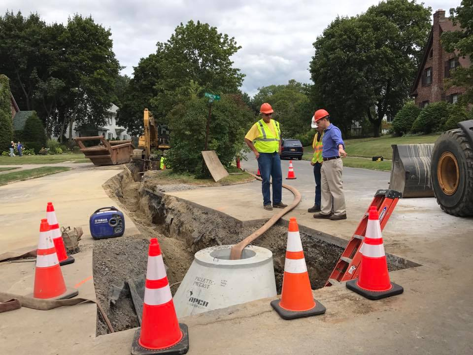On August 27<sup>th</sup>, 2017, Assemblyman Santabarbara toured the construction site for an update on the emergency infrastructure repairs now underway on Pershing Road in the City of Amsterdam. With this project, we are seeing for the first time how the Water Infrastructure Emergency Assistance Program I established in this year's state budget can help upstate communities make emergency repairs when they are needed.<br />