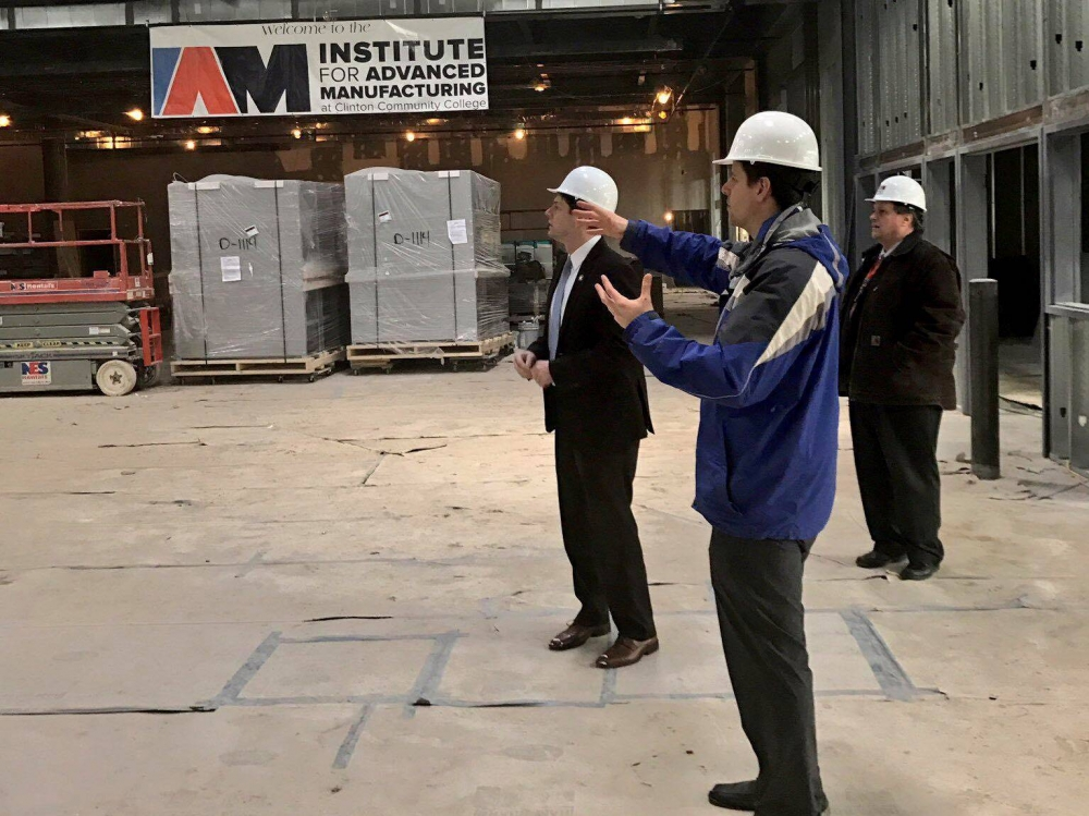 In March 2017, Assemblyman Jones toured the construction of the Institute for Advanced Manufacturing at Clinton Community College.