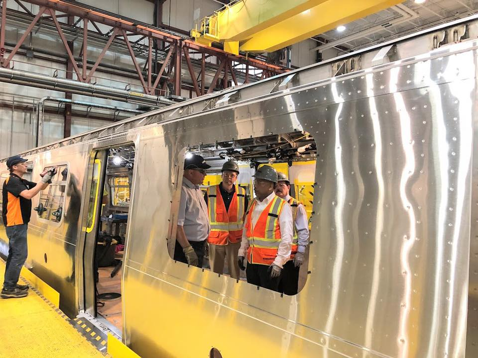 Assemblyman Billy Jones toured the Bombardier Plant in Plattsburgh with Speaker Carl Heastie, showing him the construction of a R179 Subway Car.