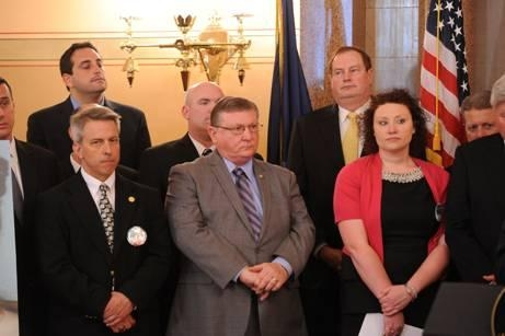Assemblyman Ken Blankenbush (R,C,I-Black River) attends a press conference calling for the passage of Brittany�s Law.