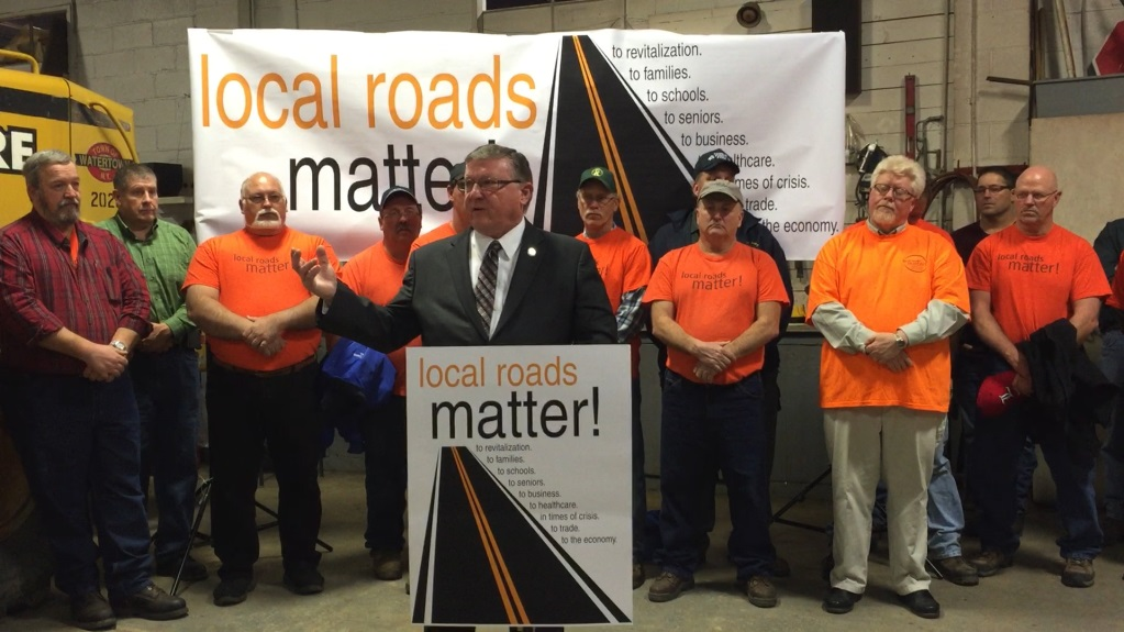 "Assemblyman Ken Blankenbush (R,C,I-Black River) speaks at the""Local Roads Matter"" rally held at the Town of Watertown Highway Department."