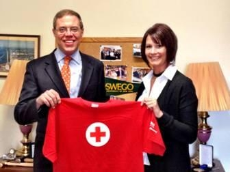 Assemblyman Will Barclay (R,C,I—Pulaski) is pictured with Danielle Hayden of the Red Cross. Barclay will host a blood drive with the Red Cross on Friday, May 3, at the Elks Lodge in Oswego at 132 W. 5