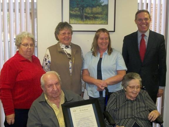 Victor and Margaret Potish recently celebrated their 70th wedding anniversary. Assemblyman Barclay presented the couple with a State Assembly Resolution commemorating the family milestone. Pictured ar
