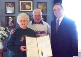 Assemblyman Will Barclay (R,C,I�Pulaski) recently presented Mr. and Mrs. Terry Slater with an Assembly Resolution in honor of their 50th wedding anniversary.