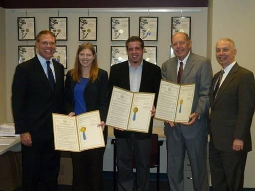 Assemblymen Barclay and Oaks presented WRVO with State Assembly resolutions for receiving the Edward R. Murrow award for their documentary �New York in the World.�