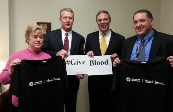 From the left are Diane Oldenburg from Oswego County Health Department, Jeff Coakley of Oswego Health, Assemblyman Barclay, and Brian Coleman of Oswego County Opportunities.  The blood drive will be h
