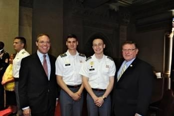 Assemblyman Will Barclay (R,C,I-Pulaski) (left) joined his legislative colleagues in celebrating West Point Day in Albany.  Cadets were welcomed to the Capitol and thanked for their service.  Cadet Ni