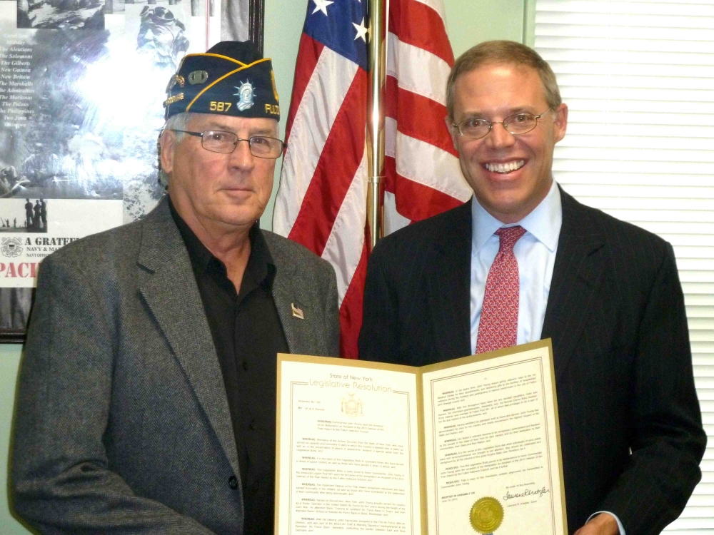 Assemblyman Will Barclay (R,C,I�Pulaski) recently presented veteran John Young with a State Assembly Resolution.  Young was named Veteran of the Year by the Fulton Veterans Council.  The award recogni